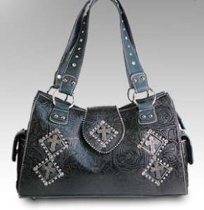 Western Black Turquoise Cowgirl Cross Handbag Purse