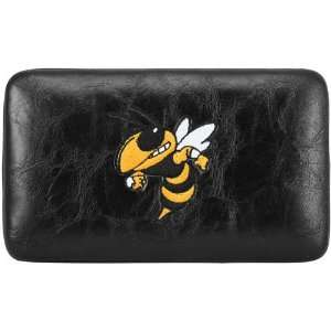 Georgia Tech Yellow Jackets Ladies Black Embroidered Flat Wallet