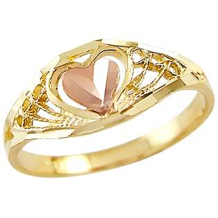 Two Tone Gold Heart Ring  Showman Jewels Jewelry Gold Jewelry Rings
