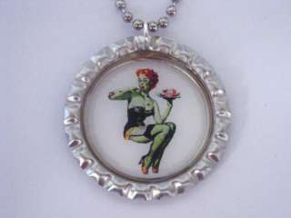 ZOMBIE PIN UP GIRL W/ BRAINS BOTTLE CAP NECKLACE NEW
