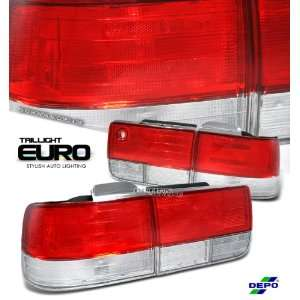 92 93 (1992 to 1993) HONDA ACCORD EX LX 4DR SEDAN RED/CLEAR TAIL LIGHT