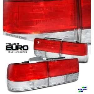 92 93 (1992 to 1993) HONDA ACCORD EX LX 4DR SEDAN RED/CLEAR TAIL LIGHT