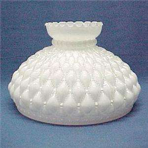 White Glass Diamond Beaded Quilt 10 in Oil Lamp Shade