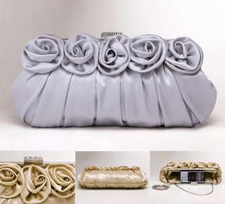 Silver Rose Crystals Wedding Bridal Clutch Evening Bag Purse Women
