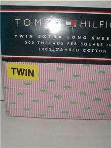 TOMMY HILFIGER GRASSHOPPER PINK TWIN XL SHEET SET NIP