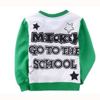 Green Kids Boys Mickey Mouse Long Sleeve T Shirt 2 8 Years 6061