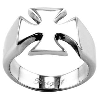 316L Stainless Steel Casting Ring   Iron Cross