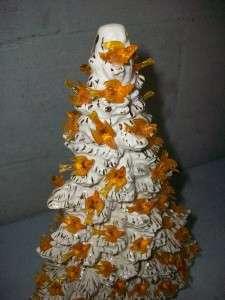 Vintage Ceramic Christmas Tree RARE Tampa Mold White Gold Orange Birds