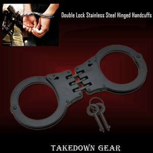 Black Steel Double Locking Hinged Handcuffs Police Cuffs Takedown Gear