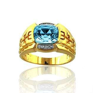 Diamond Accent Blue Topaz Ring in Gold over Sterling Silver  Jewelry