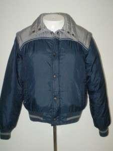 vtg 80s Down Ski Jacket vest combo blue gray sz M