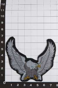 Biker Motorcycle Patch Emblem Silver Eagle with up wings For Jacket