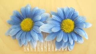 Variegated Blue Gerbers Daisy Silk Flower Hair Comb