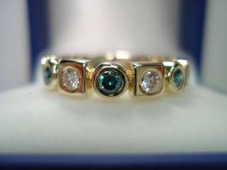 18K YELLOW GOLD BEZEL SET ETERNITY BLUE & WHITE DIAMOND BAND 0.88ct