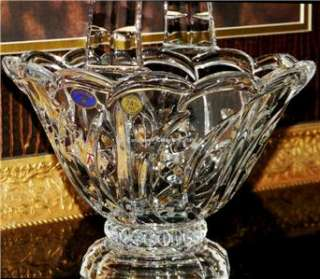 CRYSTAL GLASS FOOTED HANDLED BASKET BOWL Bohemia Leaded Crystal vase