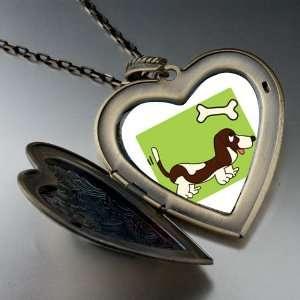 Basset Hound Dog Brown Large Pendant Necklace Pugster
