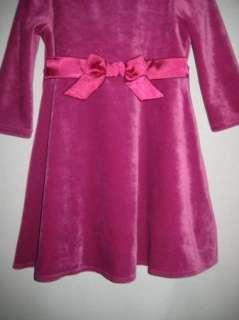 Lands End Purple Velour Winter Christmas Dress Girls 2T EUC