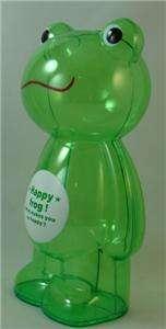 LARGE CLEAR PLASTIC GREEN FROG KIDS PIGGY COIN BANK NIB
