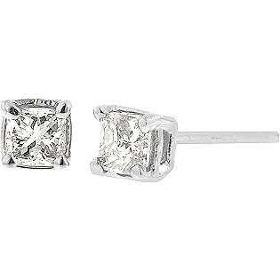 Cut Diamond Stud Earrings In 10k White Gold  Jewelry Diamonds Earrings