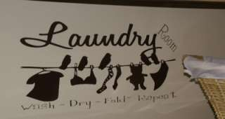 Vinyl WALL LETTERING Laundry Room Birds Clothesline