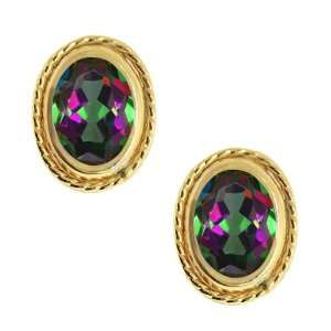 2.00 Ct Oval Mystic Topaz Gold Plated Silver Earrings Jewelry