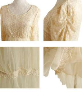Promotino Vintage Sweet Long Sleeve Lace Tulle Dress