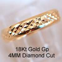 WHOLESALE 12 PC DIAMOND CUT 18KT. GOLD PLATED WEDDING BAND 4MM RINGS
