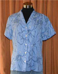 SLEEVE BLUE 100% SILK HAWAIIAN TB SHIRT WOMENS LADIES SMALL