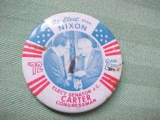 1972 Orig PRESIDENT NIXON JC CARTER Campaign Button Pin