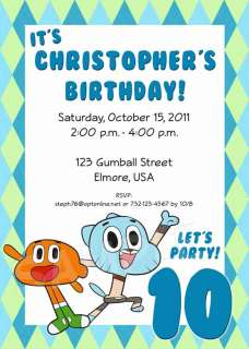AMAZING WORLD OF GUMBALL Birthday Party Invitation   Multiple Designs