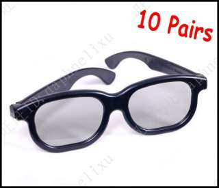 10 Pairs Plastic Frame Circular Polarized Lens 3D Glasses Movie Cinema