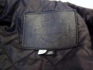 HARLEY DAVIDSON Black Leather Motorcycle JACKET Size 44 Large