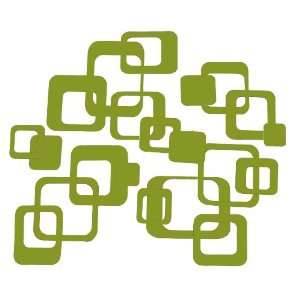Olive Green Funky R/ Squares Wall Vinyl Sticker Decal 20 Pieces 6inch