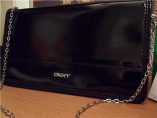DKNY BLACK PATENT LEATHER CHAIN CLUTCH SMALL SHOULDER BAG INTL SHIP
