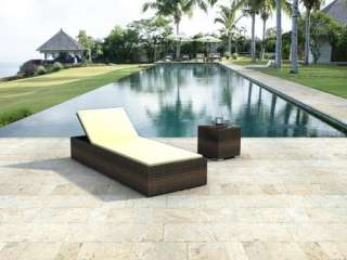 Outdoor All Weather Wicker Lounge Chair and Side Table