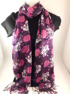 PURP SKULL ROSES DAY OF THE DEAD ROCKABILLY PUNK ROCK SCARF