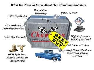 1960 1961 1962 Chevy Pickup Truck C/K 2 Row Radiator