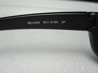 RAY BAN P RB 4053 POLARIZED BLACK PLASTIC FRAME SUNGLASSES MADE IN