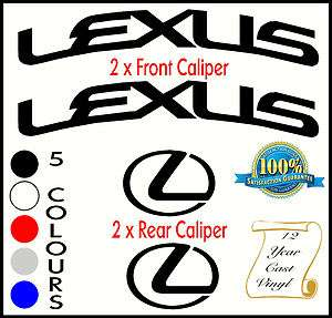 LEXUS CURVED HIGH TEMP BRAKE CALIPER CAST VINYL DECAL SET STICKERS