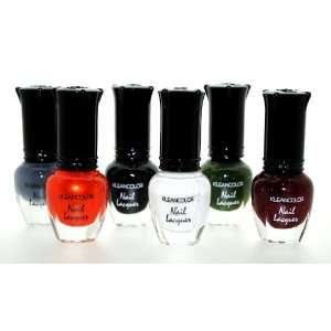 Gothic Style Nail Lacquer 6 Piece Combo Set + Waterproof Liquid Black