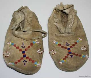 NATIVE AMERICAN LEATHER VINTAGE ANTIQUE BEADED ART INDIAN MOCCASINS
