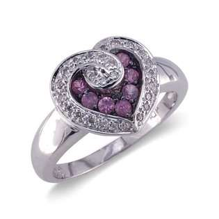 14K White Gold Heart Shaped Diamond and Pink Sapphire Ring Size 8