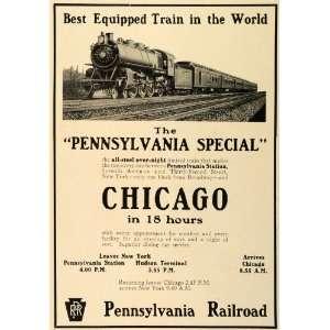 1912 Ad Pennsylvania Special Railroad Chicago Train Travel