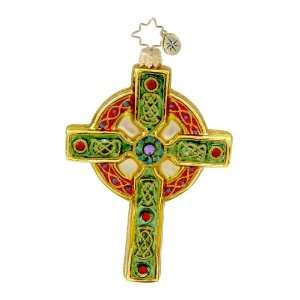 Christopher Radko Glass Celtic Christmas Cross Irish Holiday Ornament