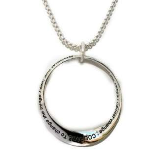 Family Silver Infinity Circle Serenity Prayer Necklace 18+2