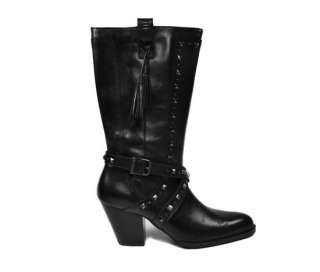 Nelle Fashion Dress Women Size Black Leather BOOTS 85818