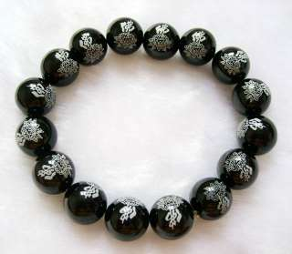 Black Agate Beads Tibetan Buddhist Prayer Mala Bracelet