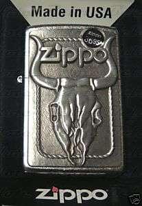 Zippo Bull Skull Emblem Street Chrome Lighter 20286 NEW