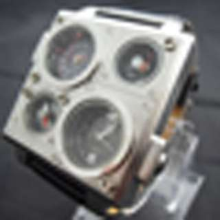 Military Steel Quartz Analog Mens Sports Dual Timer Zone Wrist Watch