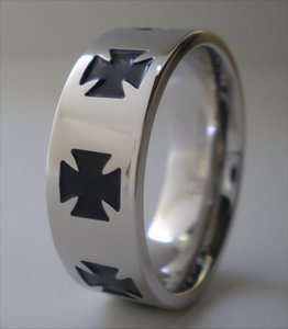 Black Iron Cross Ring Stainless Steel Band Size 13
